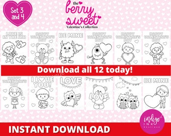 Classroom Valentine Coloring Sheets | Valentine Coloring Pages for Kids | Homeschool Valentine Day Printables for Kids INSTANT DOWNLOAD