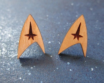 Star Trek Earrings Enterprise Starfleet Delta Command Insignia Logo, Natural Cherry Wood Earrings