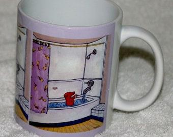 dachshund art - dachshund taking a bath dog art mug cup 11 oz dog art mug cup 11 oz gift - dachshund gifts