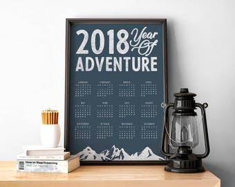 2018 Wall Calendar - A3 printable poster - adventure inspired - blue