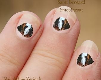 Saint Bernard Nail Art, hond Nail Art Stickers, St Bernard Nail Stickers, nagel-Stickers, stickers
