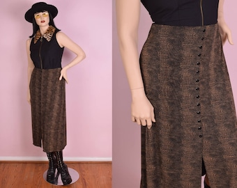 90s Reptile Print Button Down Skirt/ Large/ 1990s
