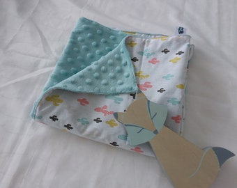 Mint minky baby blanket and pastel cactus and geometric pattern cotton