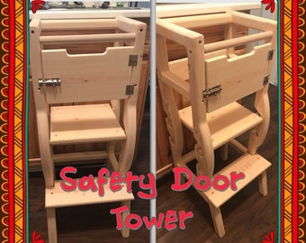 learning helping stool Adjustable Two Levels (PLAIN WOOD) with Engraving or Safety Door option
