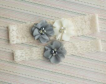 Gray Wedding Garter Set, Bridal Garter Set, Ivory Gray Lace Garter, Wedding Garter Belt, Flower Garter set, wedding garter lace, garter belt