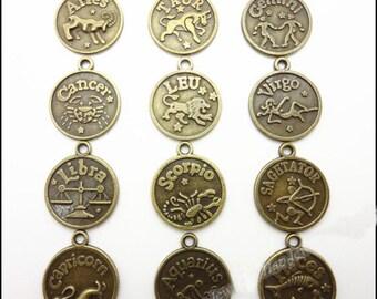 Zodiac Charms - 21x18mm 12pcs Antique bronze Twelve Constellations Charms Pendant