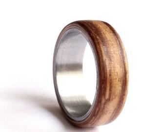 Mens Wedding Ring, Titanium Ring, Stainless Steel Wedding Band, Zebrano Wood Wedding Ring,