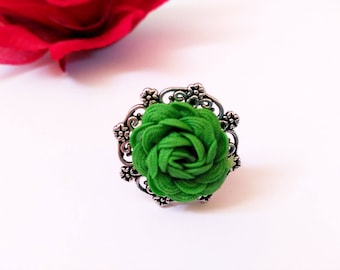 Adjustable ring, floral ring, silver ring, green ring, small ring, floral ring, silver ring