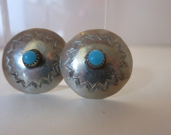 Vintage Southwest Earrings,  Turquoise  Silver, American Indian Type, Native American Type, NOW ON SALE