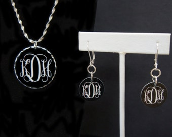 Custom Monogrammed Necklace and Earrings
