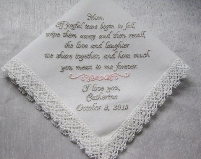 IVORY or White Mother of the Bride Custom Embroidered Personalized Wedding Handkerchief, Wedding Hankies, Wedding Handkerchiefs