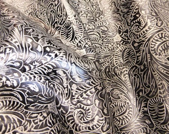 "Leather 12""x12"" Western Tool Floral leaf BLACK and SILVER Metallic Cowhide 2.5-2.75 oz/1-1.1 mm PeggySueAlso™ E2838-10 hides available"