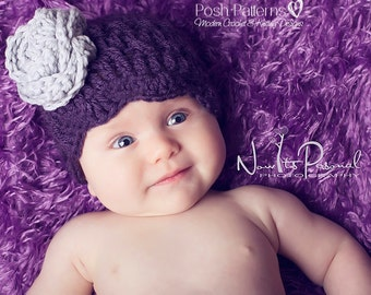 Crochet PATTERN - Crochet Hat Pattern - Shell Edge Beanie & Flower Crochet Pattern - PDF 177 - Includes Sizes Newborn to Adult - Photo Prop