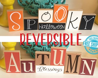 Halloween and Fall Reversible Blocks- Halloween Decor, Halloween Blocks, Halloween Sign, Spooky Blocks, Fall Decor, Autumn Blocks, Fall Sign