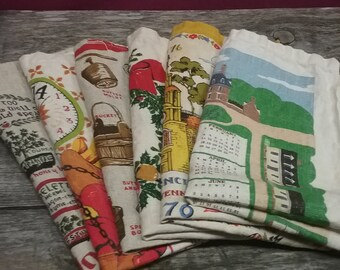 Vintage Linen Calendars, Set of 6
