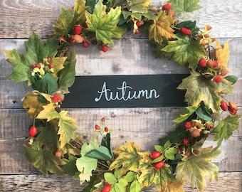 SALE Autumn wreath, leaves and berries door wreath, autumn decor, front door wreath, autumnal decor, rattan wreath, fall wreath, door decor