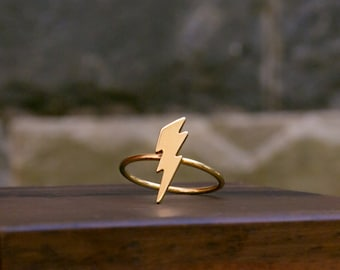 Lightning Bolt Ring, Silver Thunder Ring, 925 Sterling Silver, Minimalist, Length 17mm