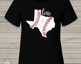Love home state baseball crew neck or v-neck DARK Tshirt - great gift for birthday girl or Mother's Day