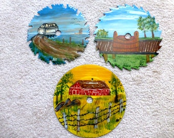 Vintage Handpainted Saw Blades Set of 3- Collectible Cottage Canadian Folk Art Home Decor- Rustic Country Wall Display Hangings - DIY Clock
