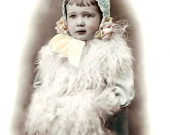vintage photo little Beauty Molly in Her Winter wonderful Hat and Muff Tinted photo print
