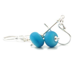 Turquoise Earrings | Deep Blue Lampwork Glass Earrings with Sterling Silver | Glass Drop Earrings | Giftwrapped UK