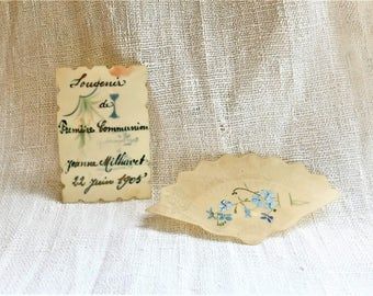 """Antique fan shaped greetings card illustrated with flowers, """"Canivet"""""""