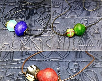 African Trade Bead Leather Necklace (choice of color)