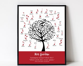 MUSIC Teacher Gift Print with Student Names - Personalize with Name, School, Grade - Musical Notes, Music Lover, Art Print, Sign, Poster,