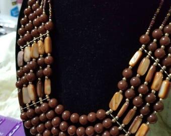 Vintage Earth tones Beaded Bib Necklace