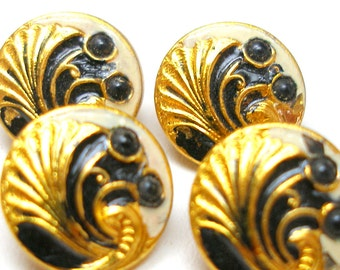 """1910s French BUTTONS, Art Nouveau with cream & black on gold, unused. 1/2""""."""