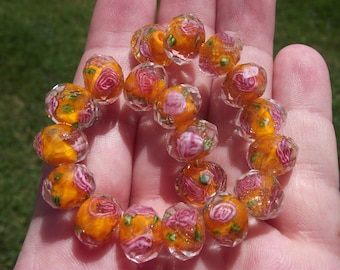 2 BEADS, FACETED RONDELLE ORANGE LAMPWORK A. 12 X 8 MM.