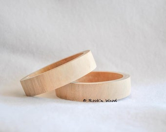 Set of 3 - Thin Flat - Unfinished Wooden Bangles 3/4 inch - Wood, DIY, Jewelry Supply