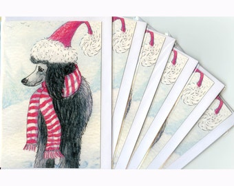 6 x black poodle dog greeting holiday cards - ready for the slopes