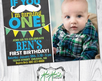 If You Mustache 1st Birthday Invitation, with Photo, Lime Green, Turquoise Blue, Yellow, Chalkboard (Digital File)
