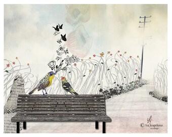 Love birds art, Bird painting, Whimsical art, Love paintings, Bird illustration