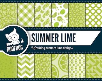 Lime digital paper | zesty lime green pattern | digital paper pack instant download | fruit digital paper background | commercial use