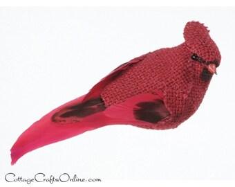 """Red Burlap Bird, Cardinal, 4.9"""" long, Alligator Clip, Christmas Decor, Wreath & Floral Supply, Natural Burlap Bird, Darice Craft"""