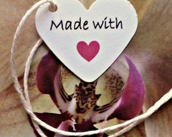 pink heart tags Made with Love tags price tags gift tags jewelry tags mini tags white tags hang tags etsy shop supplies merchandise tags