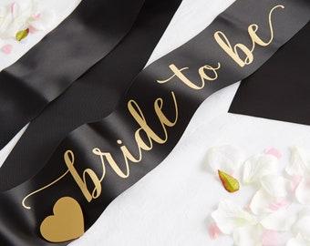 Bride to Be Sash - Bride Sash - Hen Party Sash - Black Bridal Sash - Bridal Shower Sash - Black Sash - Hen Do Sash