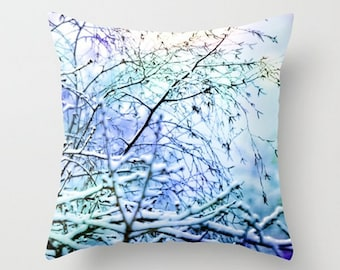 Winter Beauty, Snow Scene, Throw Pillow Cover, Affordable Home Decor, Surreal, Purple, Blue, Trees, Frost, Rustic, Quiet, Abstract, White