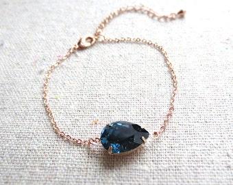 Swarovski Crystal Dark Navy Blue Bridal Rose Gold Bracelet, Delicate Adjustable Chain, Custom Wedding Jewelry, Bridesmaids Proposal Gifts