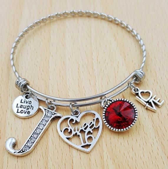 Personalized Sweet 16 Bracelet Sweet 16 Gift Sweet Sixteen Gifts Birthday Bracelet Birthday Gift Birthstone Bracelet Initial Bracelet