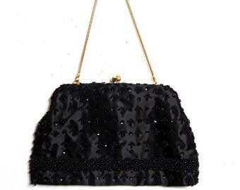 Black Beaded Evening Bag / Vintage Handbag Transforms into Clutch/ Hong Kong