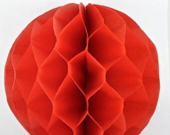 Red Honeycomb Pom Pom 9cms, wedding decorations, party decorations, nursery decorations, baby shower decorations, photo shoot props