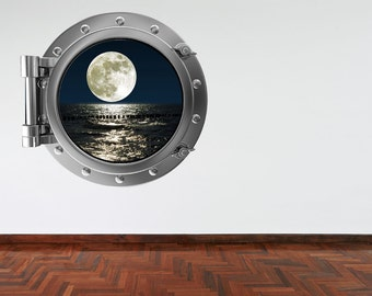 Wall Decal Moon and Sea Silver Porthole Wall Sticker Sky At Night