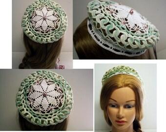 SALE, Renaissance COIF Cap, White, mint green, pearls beads,Faire, Cap,Escoffion, Medieval, SCA,