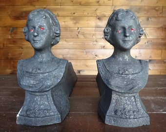 Antique French Gothic Ghostly Scary Painted firedogs fire dogs fireplace open fire circa 1900's / English Shop