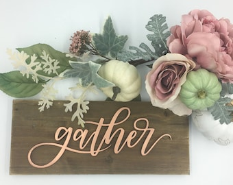"""Laser cut holiday sign on a plaque """"gather"""""""