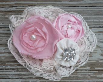 Pink and white rosettes on lace with pearl centers hair clip/ pin