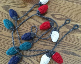 Crochet Christmas Light Garland, Made to Order